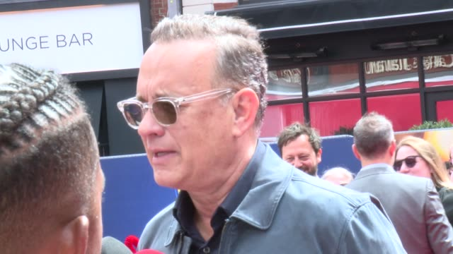 toy story 4 european premiere; england: london: leicester square: ext tom hanks on the red carpet / tom hanks interview sot - tom hanks stock videos & royalty-free footage