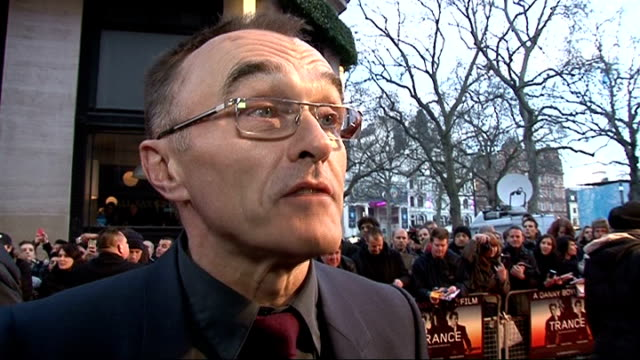 'trance' premiere:; boyle interview sot - on juggling the olympics opening ceremony with the film / on idea of doing a bond movie - i'm not the guy... - sports period stock videos & royalty-free footage