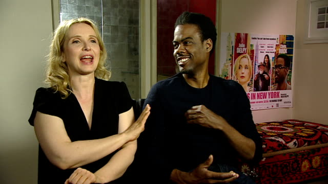 'Two Day in New York' interviews ENGLAND INT Chris Rock and Julie Delpy joint interview SOT Chris on growing his hair and being old in school Chris...