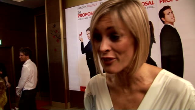 SHOWBIZ Film UK premiere of 'The Proposal' red carpet interviews Jenni Falconer interview SOT On British tennis player Andy Murray playing at...