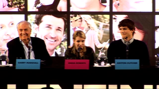 'valentine's day' director and cast press confernece emma roberts press conference sot on valentine's day garry marshall press conference sot on... - topher grace stock videos & royalty-free footage