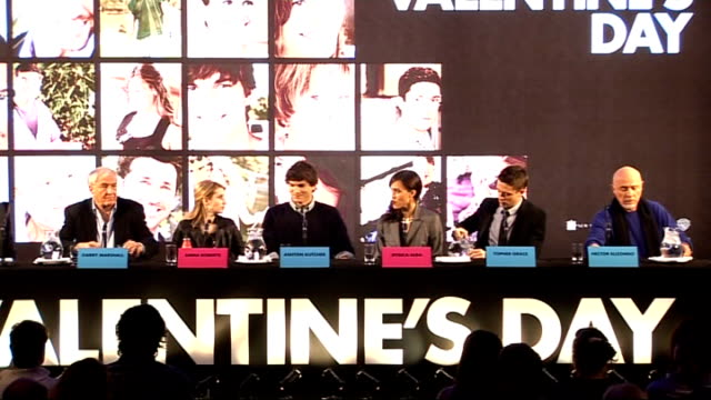 'valentine's day' director and cast press confernece england london int garry marshall emma roberts ashton kutcher jessica alba topher grace hector... - topher grace stock videos & royalty-free footage