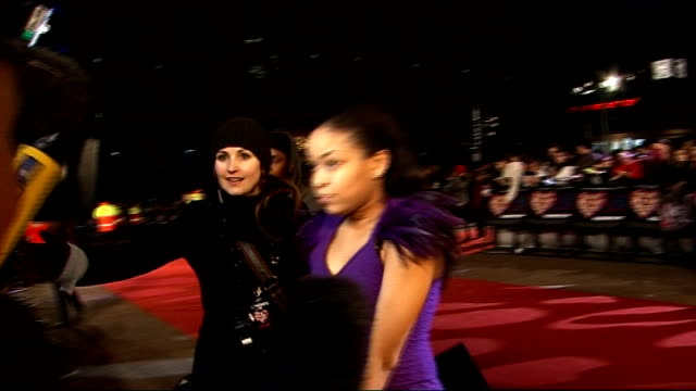 'Valentine's Day' premiere red carpet arrivals Members of The Saturdays speaking to press and along red carpet Dionne Bromfield interview SOT On...
