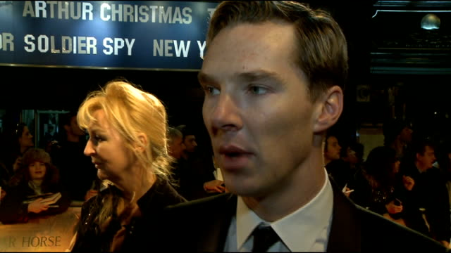 'War Horse' premiere red carpet arrivals Benedict Cumberbatch interview SOT On the fun of making War Horse / his horse riding being pretty good / on...