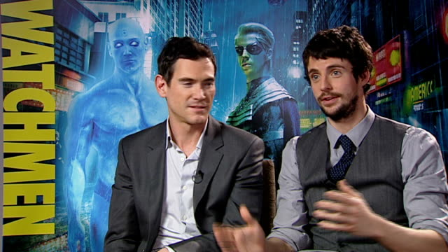 'watchmen' interviews england london int billy crudup and matthew goode interivew sot on what we can expect how it subverts the superhero genre... - matthew goode stock videos & royalty-free footage