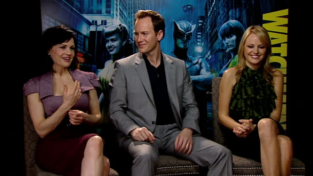 'watchmen' interviews; gugino, wilson and akerman interview sot - gugino on her character - which superhero they would have liked to make a cameo - cameo brooch stock videos & royalty-free footage