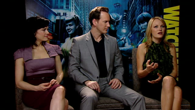 'watchmen' interviews gugino wilson and akerman interview sot essential to read comics to prepare for role studied people who would have been sally's... - toe stock videos & royalty-free footage