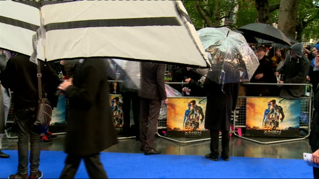 'XMen Days of Future Past' premiere Celebrity arrivals ENGLAND London Leicester Square EXT / RAINING **Music heard SOT** Fans behind barrier / fans...