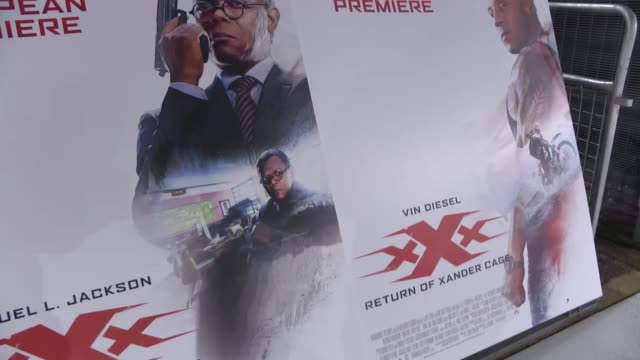 'XXX Return of Xander Cage' premiere Red carpet arrivals ENGLAND London Film posters for 'XXX Return of Xander Cage' / red carpet and signs / 5 After...