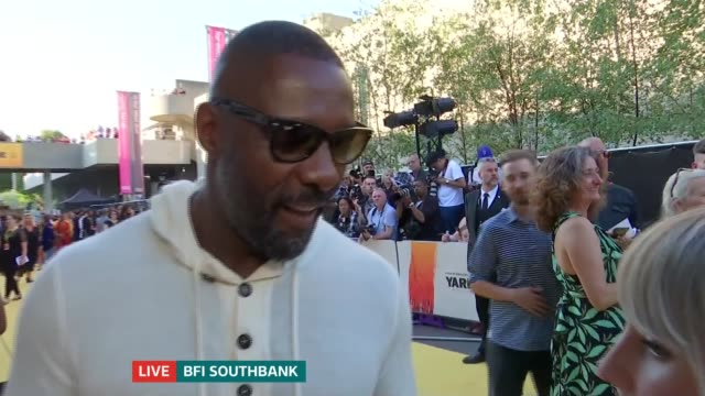 'Yardie' premiere ENGLAND London BFI Southbank EXT Idris Elba interview on red carpet SOT