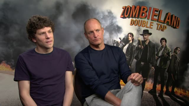 'zombieland double tap' jesse eisenberg and woody harrelson interview england london int jesse eisenberg and woody harrelson interview sot - woody harrelson stock-videos und b-roll-filmmaterial