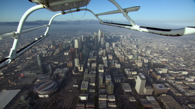 Filming the city of Los Angeles from a helicopter with gyro-stabilization.