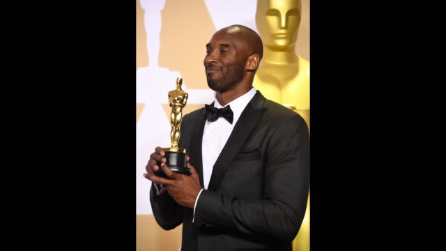 Filmmaker Kobe Bryant winner of the Best Animated Short Film award for 'Dear Basketball' poses in the press room during the 90th Annual Academy...