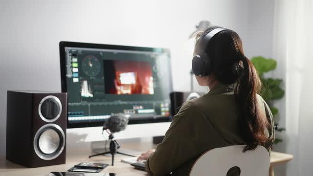 filmmaker working on video editor - loft apartment stock videos & royalty-free footage