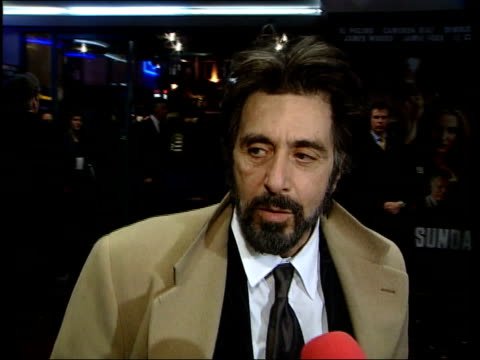 al pacino at premiere of 'any given sunday' england london leicester square al pacino interviewed sot worry about how it will go down in that respect... - al pacino stock videos & royalty-free footage