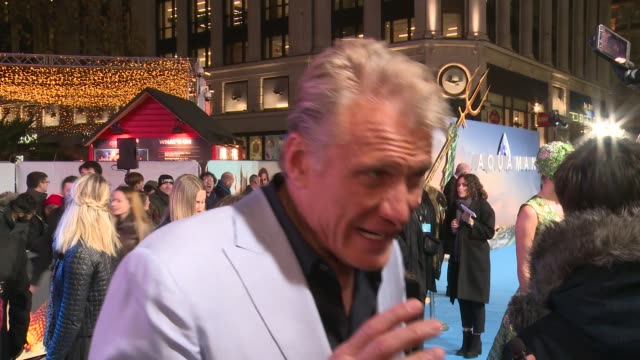 'aquaman' premiere england london leicester square dolph lungren interview sot - 封切り点の映像素材/bロール