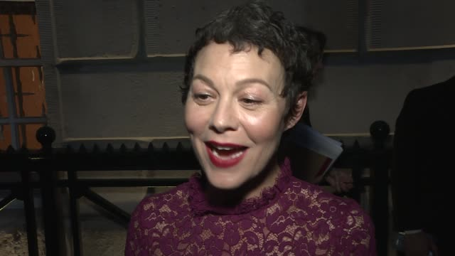 london film festival awards: red carpet interviews; helen mccrory interview sot / gloria huwiler interview sot - ヘレン マックローリー点の映像素材/bロール