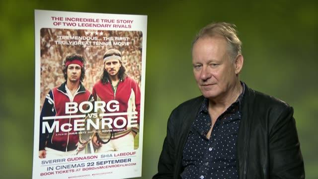 Borg McEnroe Stellan Skarsgard interview ENGLAND London INT Poster for film / Stellan Skarsgard interview SOT