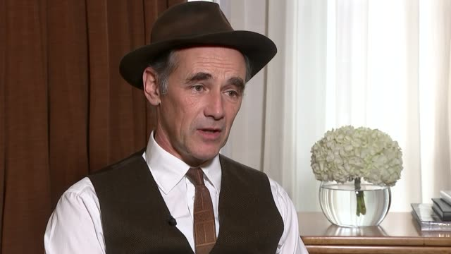 bridge of spies mark rylance interview rylance and reporter rylance interview sot annoyed to be told i needed to be in television and film rylance... - mark rylance stock-videos und b-roll-filmmaterial