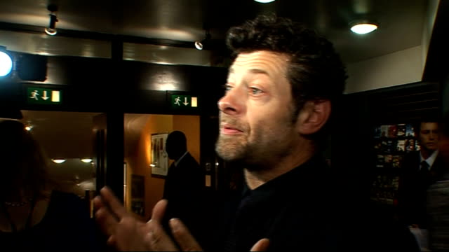 """""""burke and hare"""" london film premiere; gvs andy serkis andy serkis interview sot - on film - getting opportunity to work with pegg and landis on... - andy serkis stock videos & royalty-free footage"""
