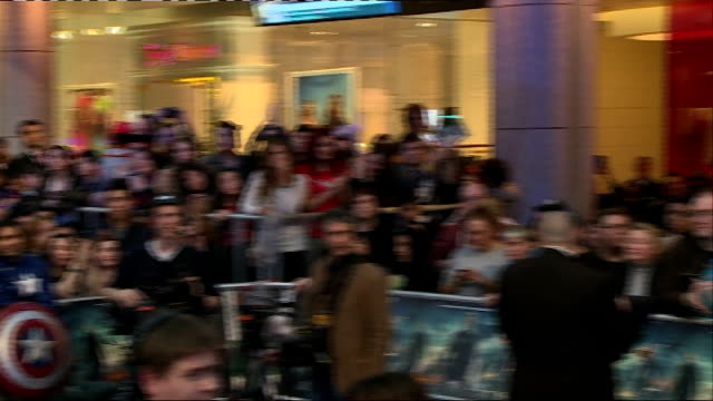 captain america the winter soldier london premiere england london shepherds bush westfield shopping centre throughout*** gvs fans on stage dresssed... - premiere stock-videos und b-roll-filmmaterial