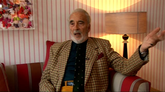 christopher lee interview; christopher lee interview sot - lee gives his impression of evil laugh - evil is more in the looks and in the smile -... - christopher lee actor stock videos & royalty-free footage