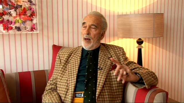 christopher lee interview; christopher lee interview sot - explains what attributes a classic bond villain must have; to convince audience villain is... - christopher lee actor stock videos & royalty-free footage