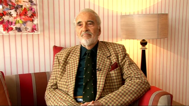 christopher lee interview; england: london: int christopher lee interview sot - starts off talking about a movie he did together with jane seymour -... - christopher lee actor stock videos & royalty-free footage