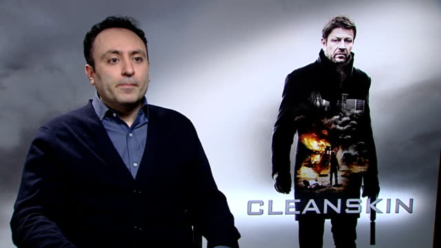 """""""cleanskin"""" interviews; england: london: int hadi hajaig interview sot - talks about why he made """"cleanskin"""", the feel of the film, working with sean... - sean bean stock videos & royalty-free footage"""