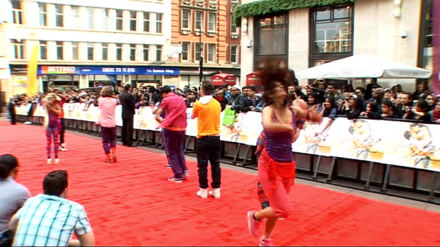 european film premiere of 'kites' england london odeon west end ext posters outside cinema fans waiting behind crash barriers gvs of dance crew... - bollywood stock videos and b-roll footage