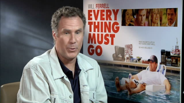 'everything must go' / will ferrell junket interview; england: london: int will ferrell interview sot - on mixing it up with non-comedy films, but... - エルフ点の映像素材/bロール