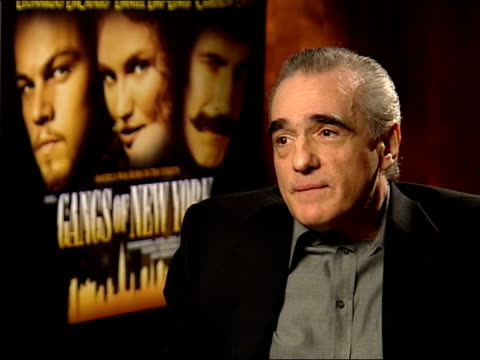 'gangs of new york'; itn london: leicester square: int martin scorsese interview sot - films i made in 70s, if you didn't win oscars for that - it's... - ギャング・オブ・ニューヨーク点の映像素材/bロール
