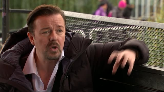 "gervais reprises most famous role in ""david brent: life on the road""; ext ricky gervais interview sot - ricky gervais stock videos & royalty-free footage"
