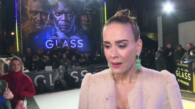 'Glass' London premiere GVs and interviews on red carpet ENGLAND London Leicester Square PHOTOGRAPHY*** Sarah Paulson interview SOT / Bruce Willis...