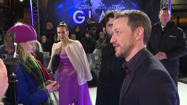 'Glass' London premiere GVs and interviews on red carpet ENGLAND London Leicester Square PHOTOGRAPHY*** GVs James McAvoy speaking to media / James...