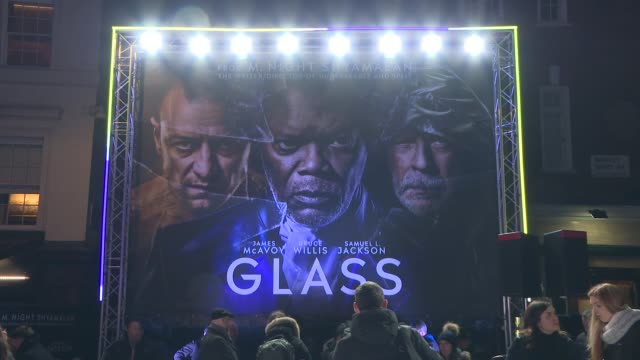 'Glass' London premiere GVs and interviews on red carpet ENGLAND London Leicester Square PHOTOGRAPHY*** GVs Cinema and 'Glass' promotional material /...