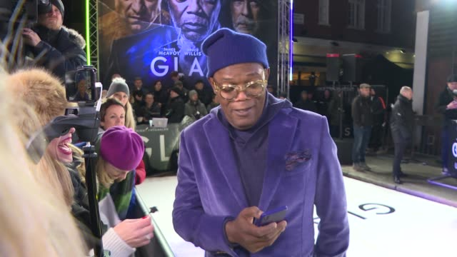 'Glass' London premiere GVs and interviews on red carpet ENGLAND London Leicester Square PHOTOGRAPHY*** Samuel L Jackson GVs and interview SOT