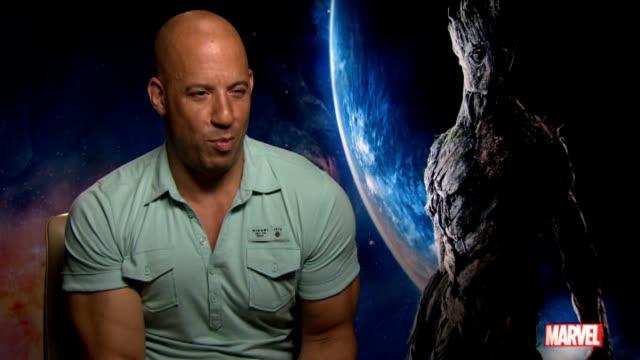 Guardians of the Galaxy Cast interviews ENGLAND London INT Vin Diesel interview SOT Karen Gillan interview SOT