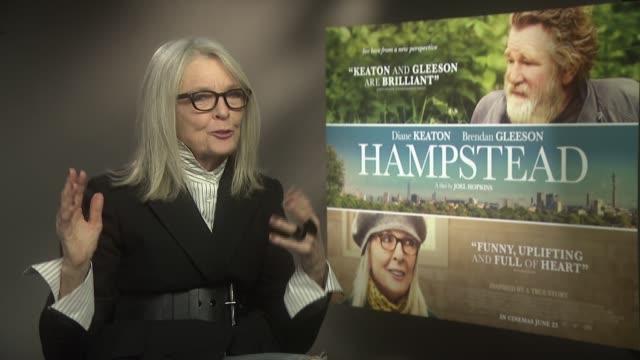 'hampstead' diane keaton junket interview england london ext diane keaton interview sot - diane keaton stock videos & royalty-free footage