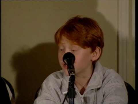 harry potter film: actors press conference; watson radcliffe and grint as rupert grint press conference sot - i think i am scarily like my character - actor stock videos & royalty-free footage