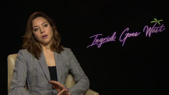 'ingrid goes west' aubrey plaza interview england london int aubrey plaza interview sot - aubrey plaza stock videos and b-roll footage