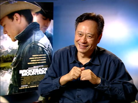 vídeos de stock, filmes e b-roll de interview with film director ang lee; - epic feel to the film - heath ledger character - response to film by annie proulx - heath ledger