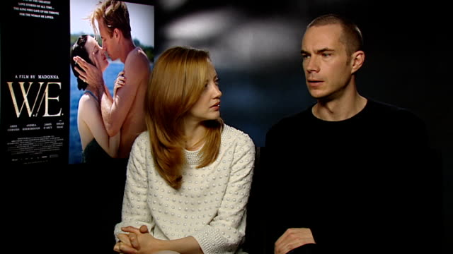 interviews with stars of new film we england london int andrea riseborough and james d'arcy interview sot talks of this retelling of the story of... - abdication stock videos and b-roll footage