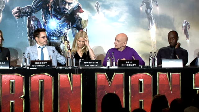 iron man 3 premiere paltrow robert downey junior sir ben kingsley and others at iron man 3 press conference - ben kingsley stock videos & royalty-free footage