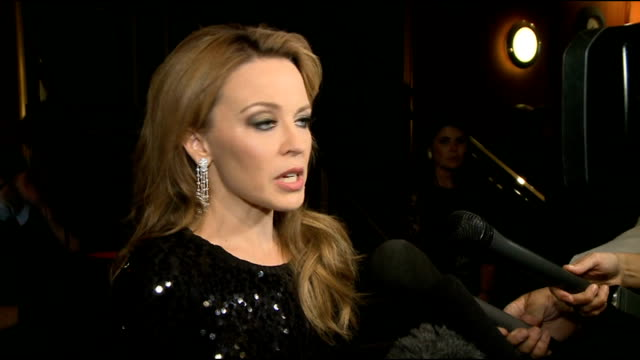 kylie minogue at 'holy motors' london premiere; kylie minogue interview sot - the film why she chose to do holy motors - the music and the singing in... - ポピュラーミュージックツアー点の映像素材/bロール