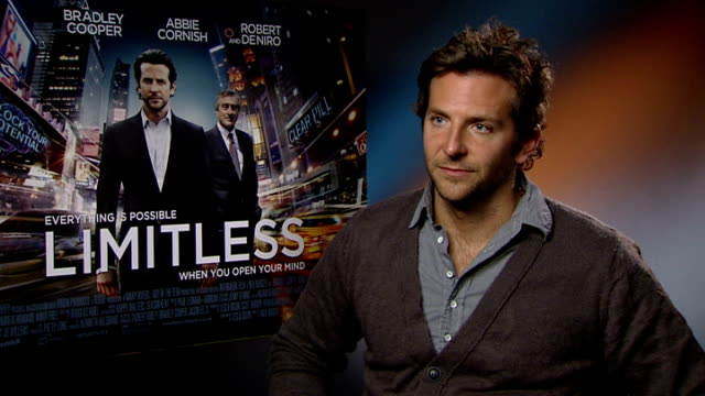 'Limitless' junket interview with Bradley Cooper ENGLAND London INT Rushes Log Bradley Cooper interview SOT on playing losers he feels he is 'that...