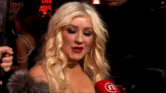 london premiere of film burlesque gvs christina aguilera christina aguilera interview sot on singing that's her comfort zone some days you have to go... - burlesque stock videos & royalty-free footage