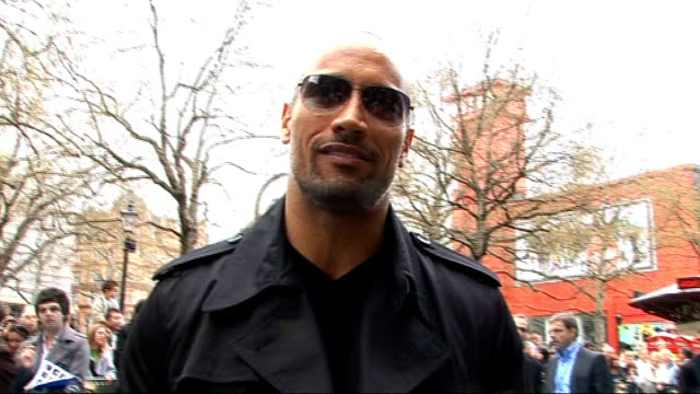 London premiere of film 'Race to Witch Mountain' Dwayne Johnson interview SOT talks about his character looking fwd to Wrestlemania big fan of the...
