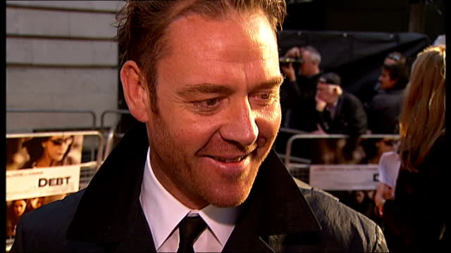 london premiere of 'the debt' red carpet arrivals and interviews marton csokas interview sot on what appealed to him about script liked intensity... - self love stock videos & royalty-free footage
