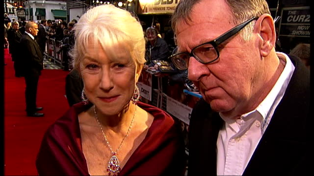 london premiere of 'the debt' red carpet arrivals and interviews dame helen mirren and tom wilkinson interview on red carpet sot the thing about a... - an answer film title stock videos & royalty-free footage